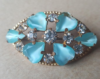 Vintage Blue Turquoise Diamante Paste Flower Floral Brooch Pin 1950s Gold Tone