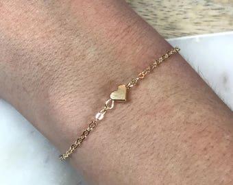 Gold Heart Bracelet, Tiny Heart Bracelet, Friends Bracelet, Dainty Bracelet, Simple Bracelet, Minimalist Bracelet, Tiny Gold Bracelet