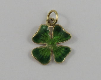 Green Enamel Four Leaf Clover 14K Gold Vintage Charm For Bracelet