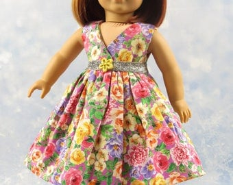 18 Inch Doll Clothes Dress Pink, Yellow, Purple Dress Outfit for American Girl Doll