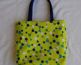 Science Fabric Gift Bag/ Party Favor Bag- Molecules on Neon Green