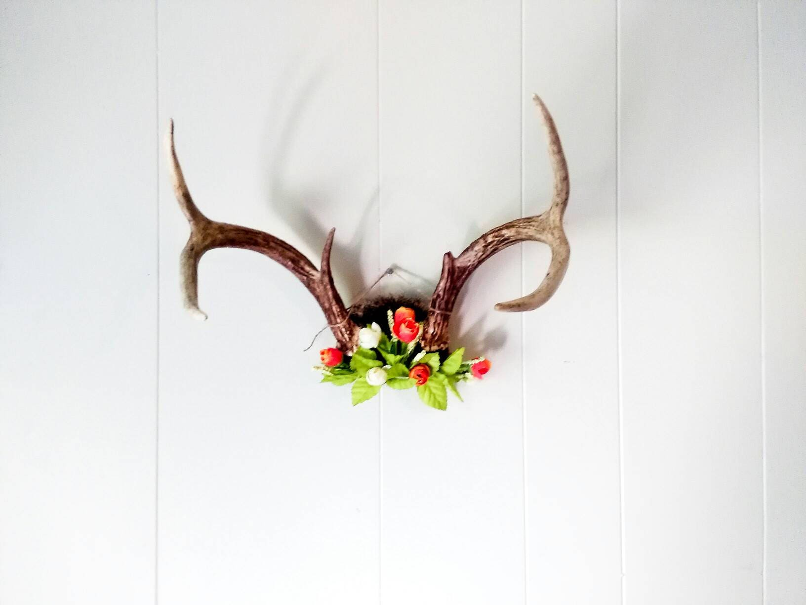 Deer antlers with flowers wall decor decorative horns zoom amipublicfo Images