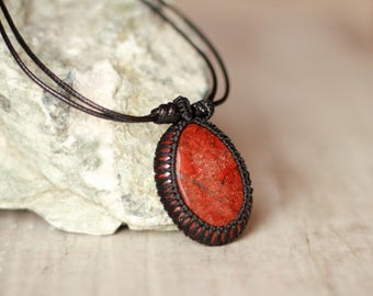 jasper cabochon necklace macrame jewelry pendant red pendant cord necklace gemstone jewelry metal free jewelry healing necklace cord jewelry