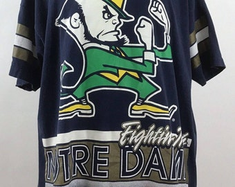 Notre Dame Fightin' Irish Men's XL Vintage All Over Print T-Shirt Salem Sportswear