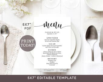 Wedding Menu Template 5x7 Printable Editable DIY
