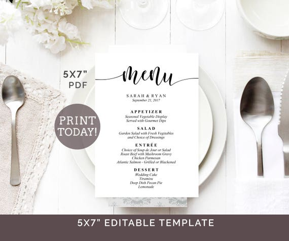 Wedding Menu Template 5x7 Printable Editable