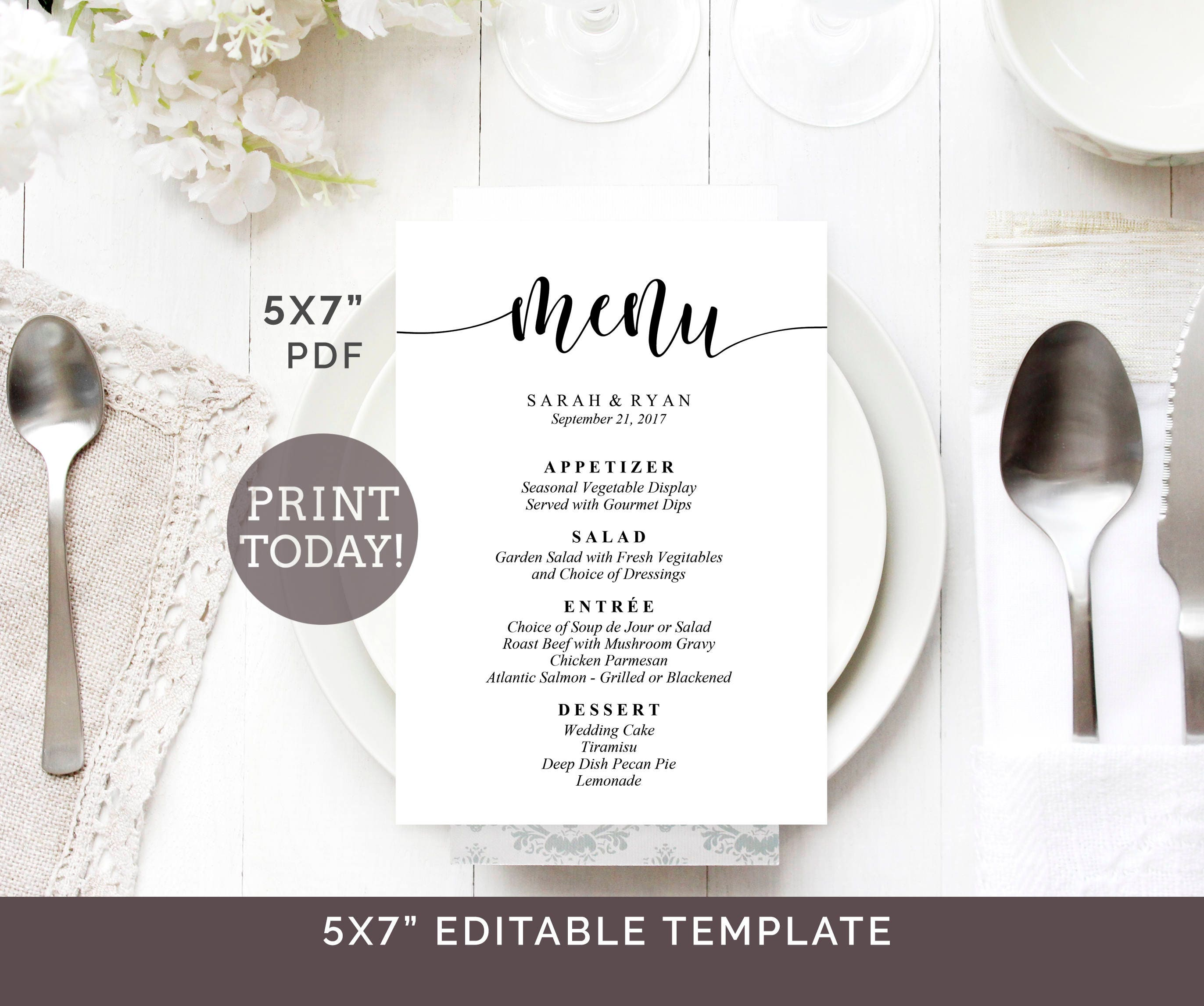 wedding menu template 5x7 menu printable. Black Bedroom Furniture Sets. Home Design Ideas
