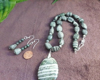 2 piece set- Green Necklace, Striped Green and Silver, Seraphinite, Natural Gemstone, Pendant, Beaded Necklace, Matching Earrings, Unisex