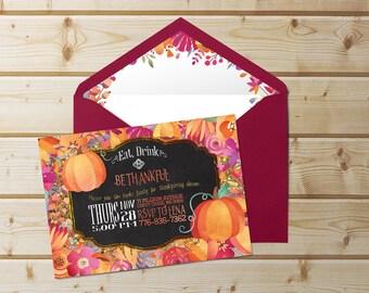 Eat, Drink, and Be Thankful   Harvest Invitation, Gobble, Give Thanks, Pumpkin Invitation, Eat Drink Thankful, Dinner Invitation