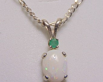 natural opal  emerald accented pendant necklace solid white Australian opal rainbow color play potch river solid sterling silver chain