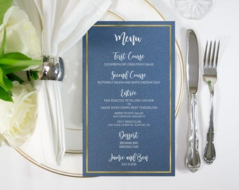 Shimmer Navy White & Gold Foil Food Menu, Modern Wedding, Reception, also available in Silver, Rose Gold, Copper Foil