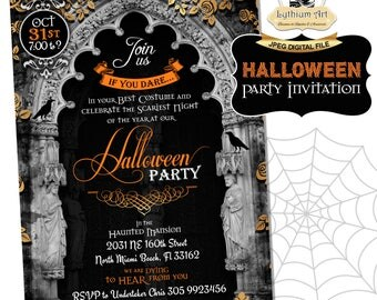 Halloween Invitation - Printable Halloween Invitation - Halloween Party Invitation - Halloween Bash - Costume Party Invitation - Goth Invite