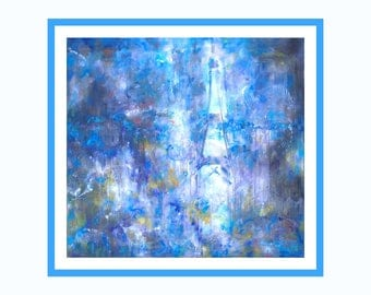 Blue Large Wall Art Print on Canvas Abstract Contemporary Print Modern Art Print Painting Giclée Impressionist Painting Print Original Art