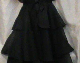 Joseph Magnin Womens Vintage Silk Black Tiered Dress  Womens  Small