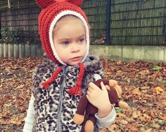 Fox Pixie Hat, Fox Hat, hood with fox ears, woodland Hat, fox themed