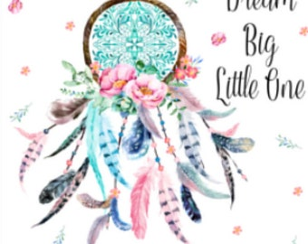 dream big little one, dreamcatcher minky blanket, pink and turquoise,  double minky, feathers