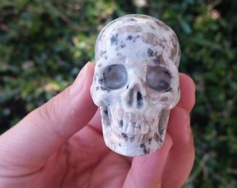 "Lotus Jasper Hyper-Realistic Skull~ Hand Carved ~ 2.0"" Unique~ Collector's ~ Altar ~Beautiful Markings~ Skull Healing ~ Meditation"