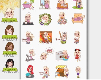 Girl Planner Sticker Set, Girl Stickers, Hand Drawn Stickers, Character Stickers,  Planner Girl Stickers, Planning Girl Stickers, Plan Girl