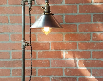 Table lamp  industrial Edison bulbs  iron pipe metal shades iron flange wood base