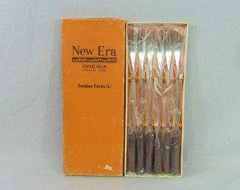 Box of 6 Oneida New Era Fondue Forks - Stainless Steel Japan - Wooden Handles - Colored Tips - Vintage 1970s