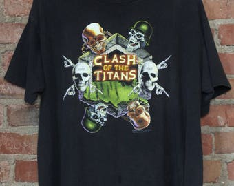 Vintage Concert T Shirt Clash of the Titans Tour 1991 Anthrax Slayer Megadeth Alice In Chains