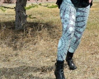 Green Boho Yoga Pants, Nature Inspired Forest Green and Mint Green Mandala Art Leggings, Printed Yoga Tights
