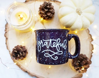 Grateful / Halloween / Autumn / Fall / Purple Campfire Mug