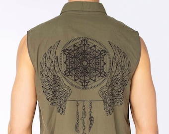 GREEN Burning man vest, steampunk vest, festival vest, men vest Burning man singlet, funky singlet, steampunk singlet, burning man top, vest