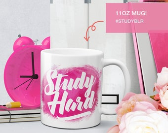 Study Hard pink coffee mug - college student gift - cute mug - coffee cup - studyblr - studygram
