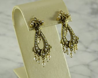 Victorian Pearl 14K Yellow Gold Earrings (pierced)