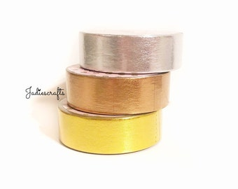 Silver, Gold & Rose Gold Foil Solid Washi Tape