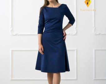 Blue Cotton Dress by TAVROVSKA, Long Sleeve Flared Dress, Business Dress
