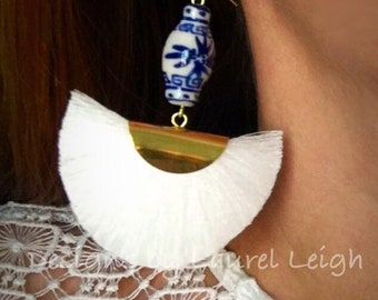 WHITE Ginger Jar Fan Earrings | fan, lightweight, blue and white, chinoiserie, gold, statement earrings, Designs by Laurel Leigh
