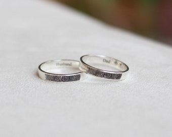 Personalized Fingerprint Jewelry, Actual Fingerprint Ring, Personalized Fingerprint Band, Engagement ring, 4mm Sterling Silver Engraved Ring