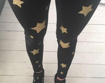Ladies Gold Glittered Star Running Leggings in Black