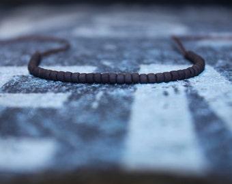 Friendship Bracelet - Matte Brown beaded bracelet - Wish Bracelet - Brown String, Mens gift for him Husband Gift , Mens Seed Bead
