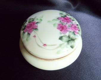 Powder Box - Porcelain Trinket Box - Made in Bavaria - Signed