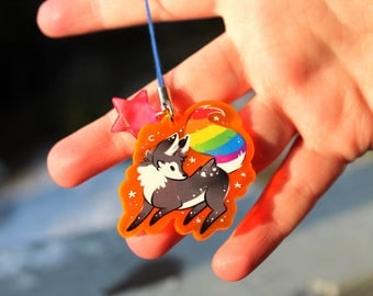 Paint the Rainbow Tail Fox - UV Reactive Acrylic Charm 1.5 Furry Keychain Cellphone Strap