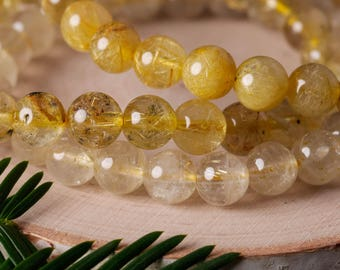 GOLDEN RUTILATED QUARTZ Power Bracelet - Natural Rutilated Quartz, Golden Rutile Bracelet, Golden Rutilated Quartz Beads E0619