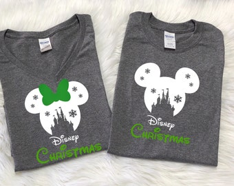 Disney SNOWFLAKE CASTLE with GREEN Disney christmas, Disney inspired shirt, Family Vacation shirts, Disney christmas shirts, Family vacation