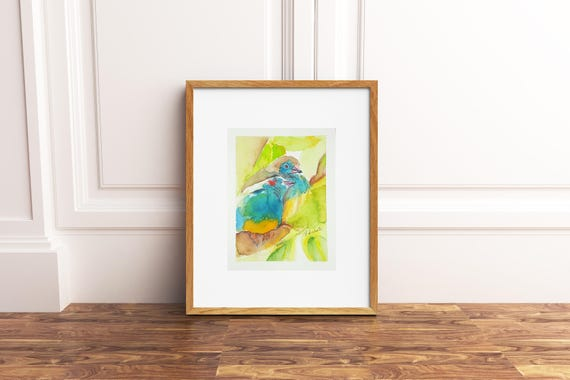 Lilltle birds, A5 giclée fine art print of original artwork, watercolor on paper, gift idea for babies, home office decoration, baby shower.