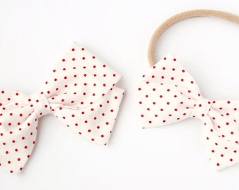 Red and White Polka Dot Baby Hair Bow - Fabric Bow for Babies & Girls - Nylon Headbands or Clips