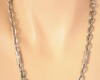 Vintage Multi Strand Modernist Chunky Cable Chain Necklace Silver Tone Minimalist Boho Retro Costume Jewelry 30""