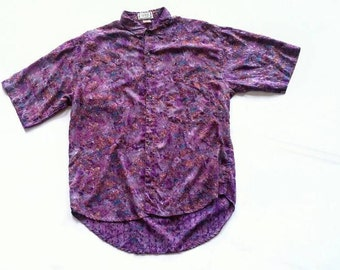 Vintage Purple Abstract Button Up Shirt with Jacquard Detailing - Fierce extra large xl 0x - brushstrokes watercolor casual short sleeve
