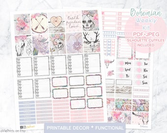 Planner Printable stickers, Bohemian stickers, Sugar skull girl, floral, woodland, boho, bull skull, farmhouse, use with Erin Condren, lavie