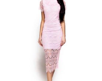 Elegant Lace Bodycon Dress Midi Pencil Dress Bridesmaid dress