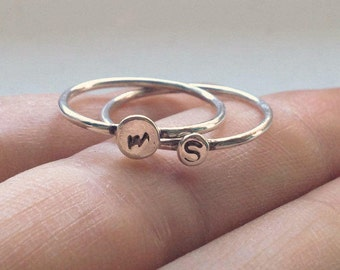 Initial Ring Silver-Silver Stacking Ring Personalized-Sterling Silver Initial Ring for Women-Initial Stacking Ring-tiny initial stacking