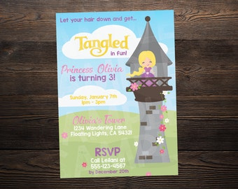 Tangled / Rapunzel Princess Birthday Invite // Custom Birthday Invitation //  5x7 // High Resolution Digital Download JPEG & PDF
