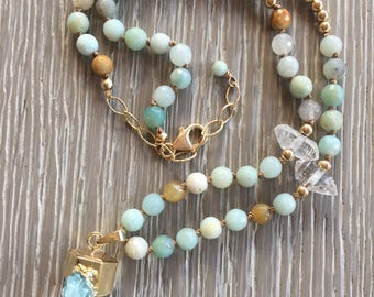 Crystal Quartz Point Pendant, Amazonite Hand Knotted Beaded Necklace, Beaded Necklace, Boho Chic, Rustic Elegance, One of a Kind