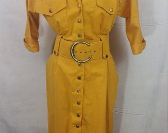 Vintage Yellow Shirt Dress with Belt Pockets Size 12